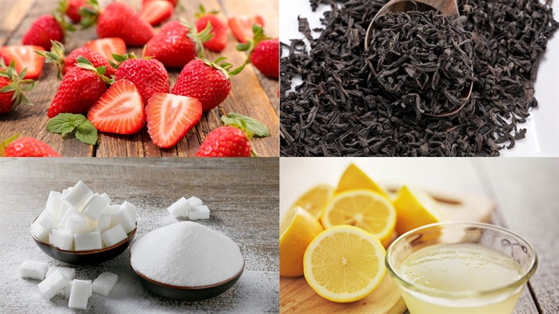 Nguyên liệu làm trà dâu